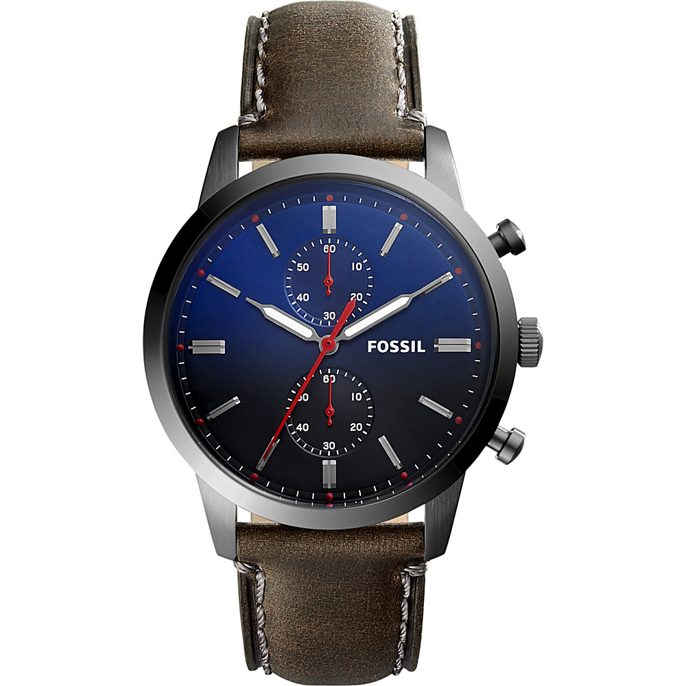 Fossil Townsman 44mm Chronograph Leather Watch Grey - Fossil Watches - Fashion Accessories, Watches