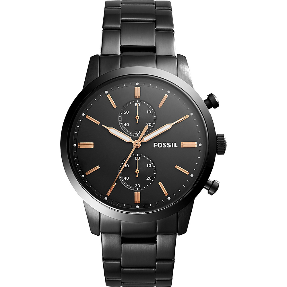Fossil Townsman 44mm Chronograph Stainless Steel Watch Black - Fossil Watches - Fashion Accessories, Watches