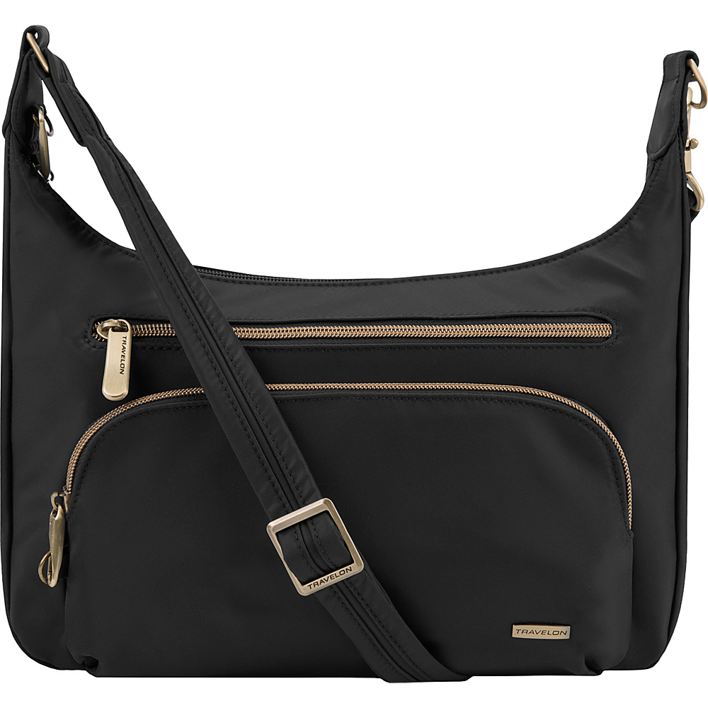 Travelon Anti-Theft Front Pocket Crossbody Bag with RFID - Exclusive Black/Teal - Travelon Fabric Handbags - Handbags, Fabric Handbags