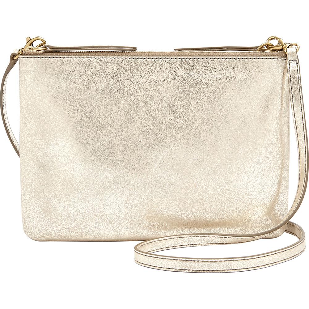 Fossil Devon Crossbody Pale Gold Metallic - Fossil Leather Handbags - Handbags, Leather Handbags