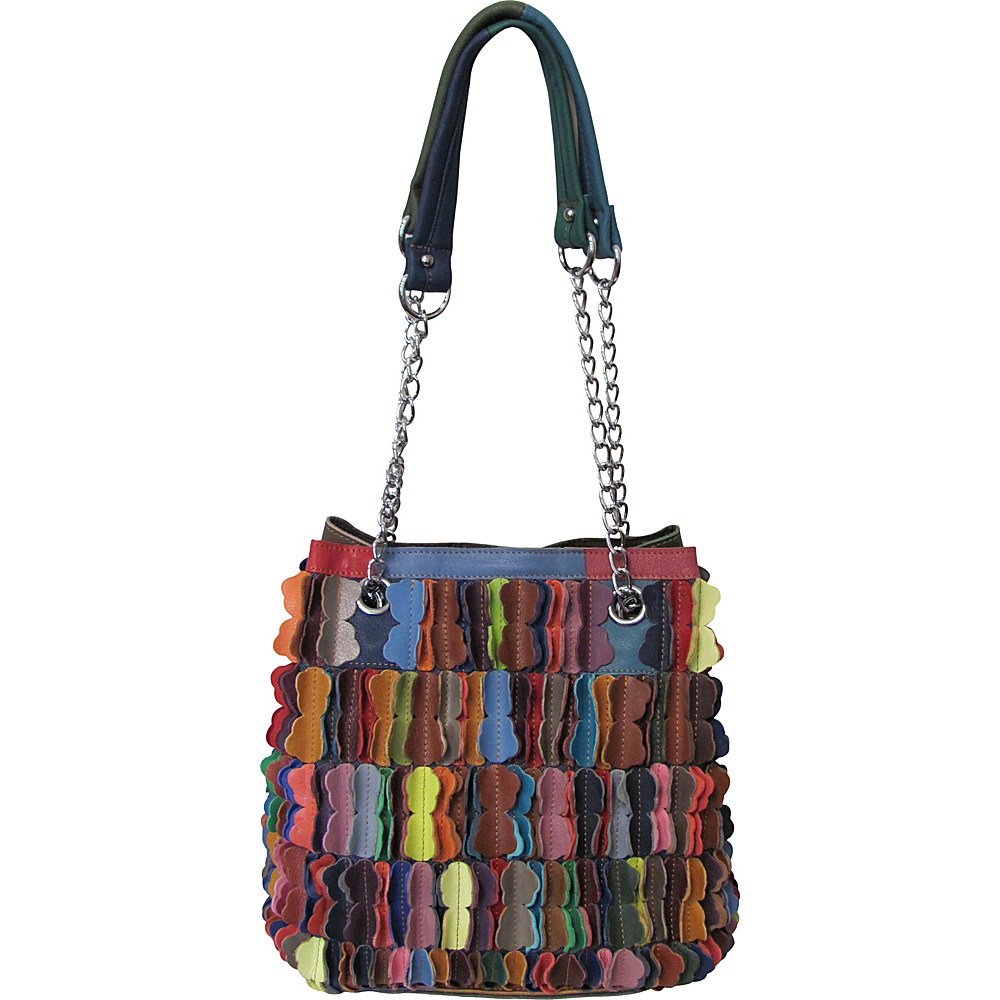 AmeriLeather Papiillon Leather Shoulder Bag Rainbow - AmeriLeather Leather Handbags - Handbags, Leather Handbags