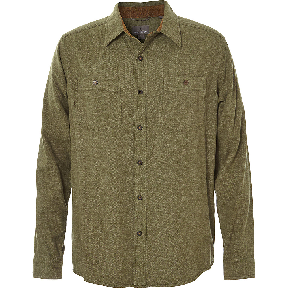 Royal Robbins Mens Bristol Tweed Long Sleeve Top M - Cypress - Royal Robbins Mens Apparel - Apparel & Footwear, Men's Apparel