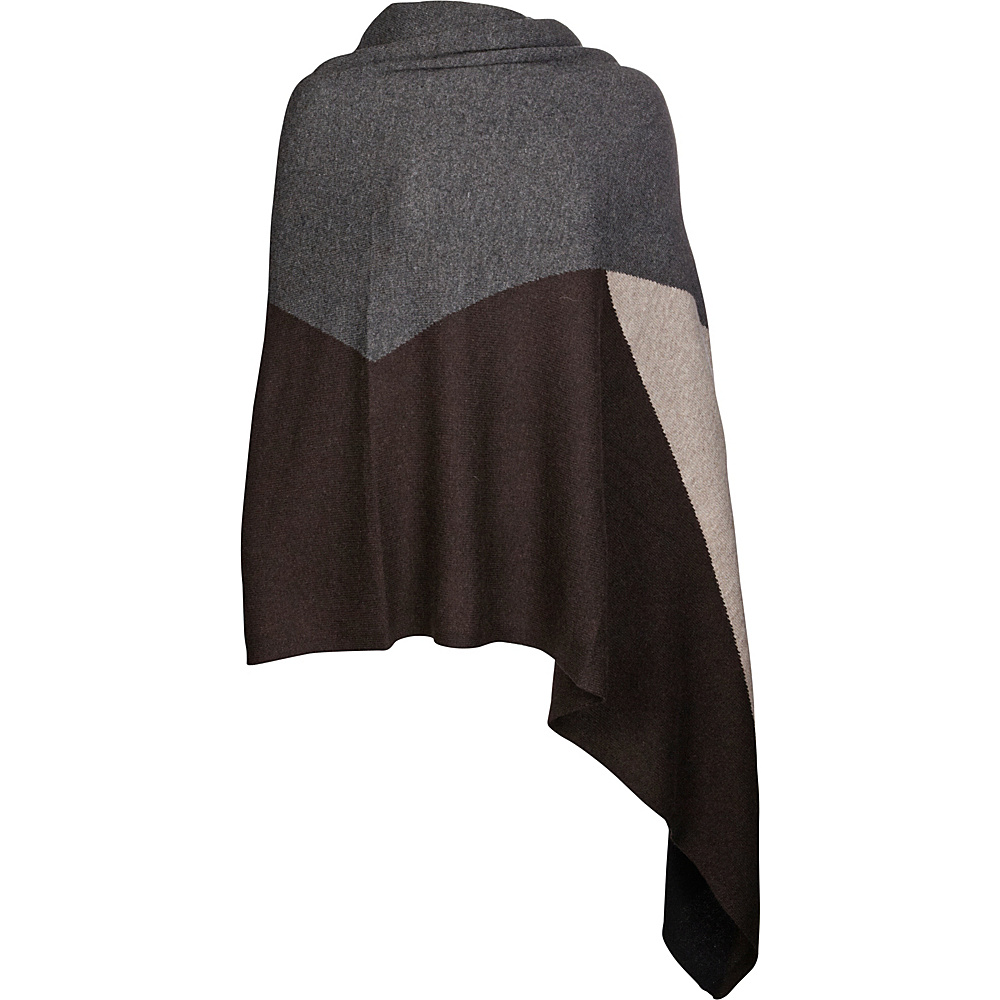 Kinross Cashmere Intarsia Travel Wrap Charcoal Multi - Kinross Cashmere Hats/Gloves/Scarves - Fashion Accessories, Hats/Gloves/Scarves
