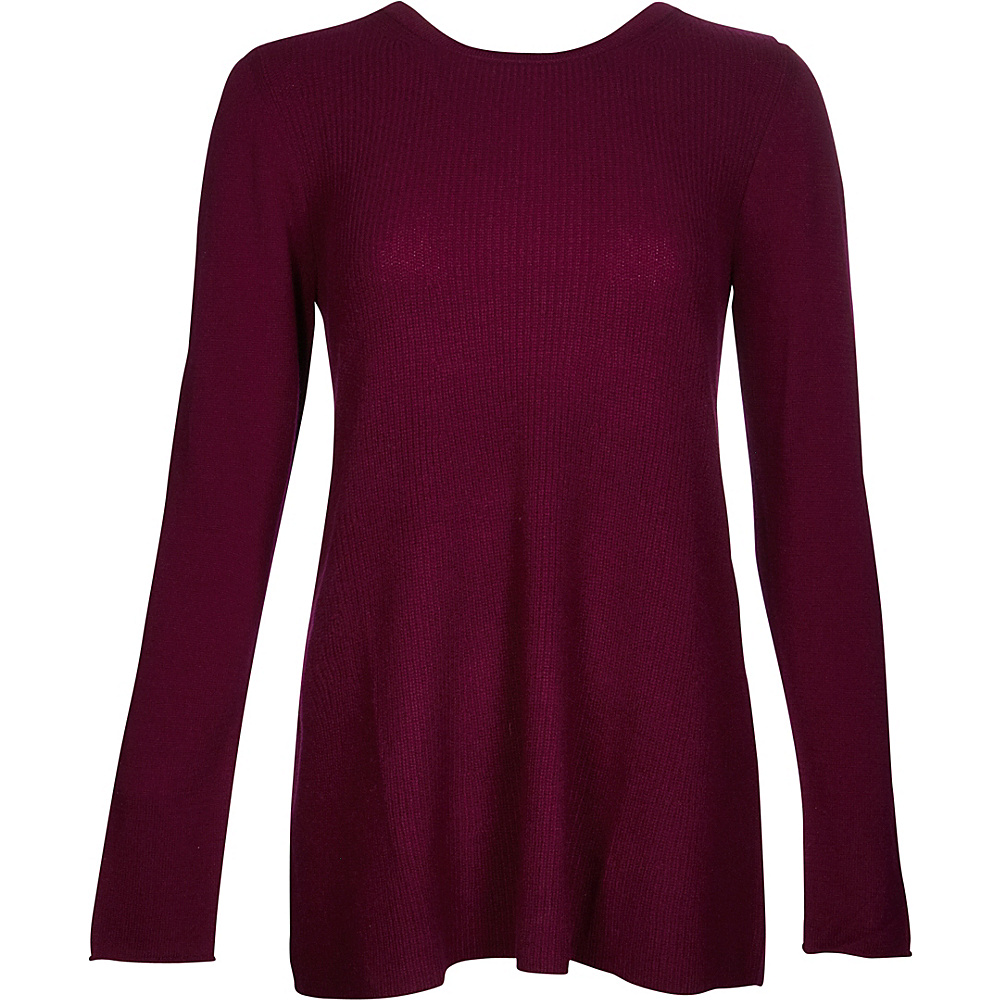 Kinross Cashmere Rib Swing Pullover XS - Cassis - Kinross Cashmere Womens Apparel - Apparel & Footwear, Women's Apparel
