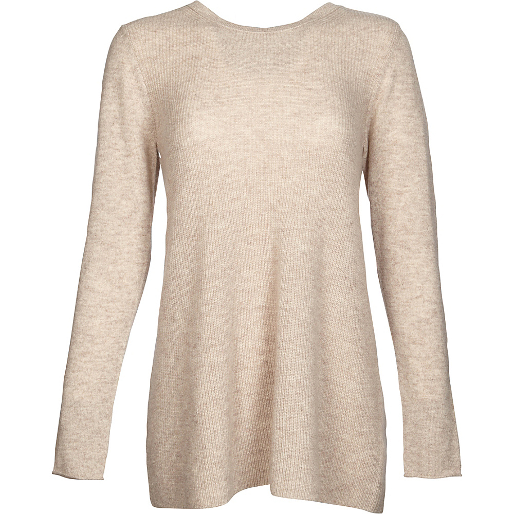 Kinross Cashmere Rib Swing Pullover M - Fawn - Kinross Cashmere Womens Apparel - Apparel & Footwear, Women's Apparel