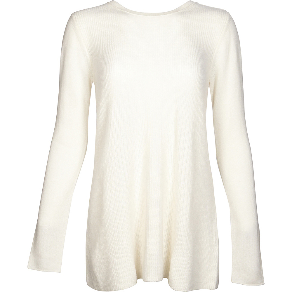 Kinross Cashmere Rib Swing Pullover S - Ivory - Kinross Cashmere Womens Apparel - Apparel & Footwear, Women's Apparel