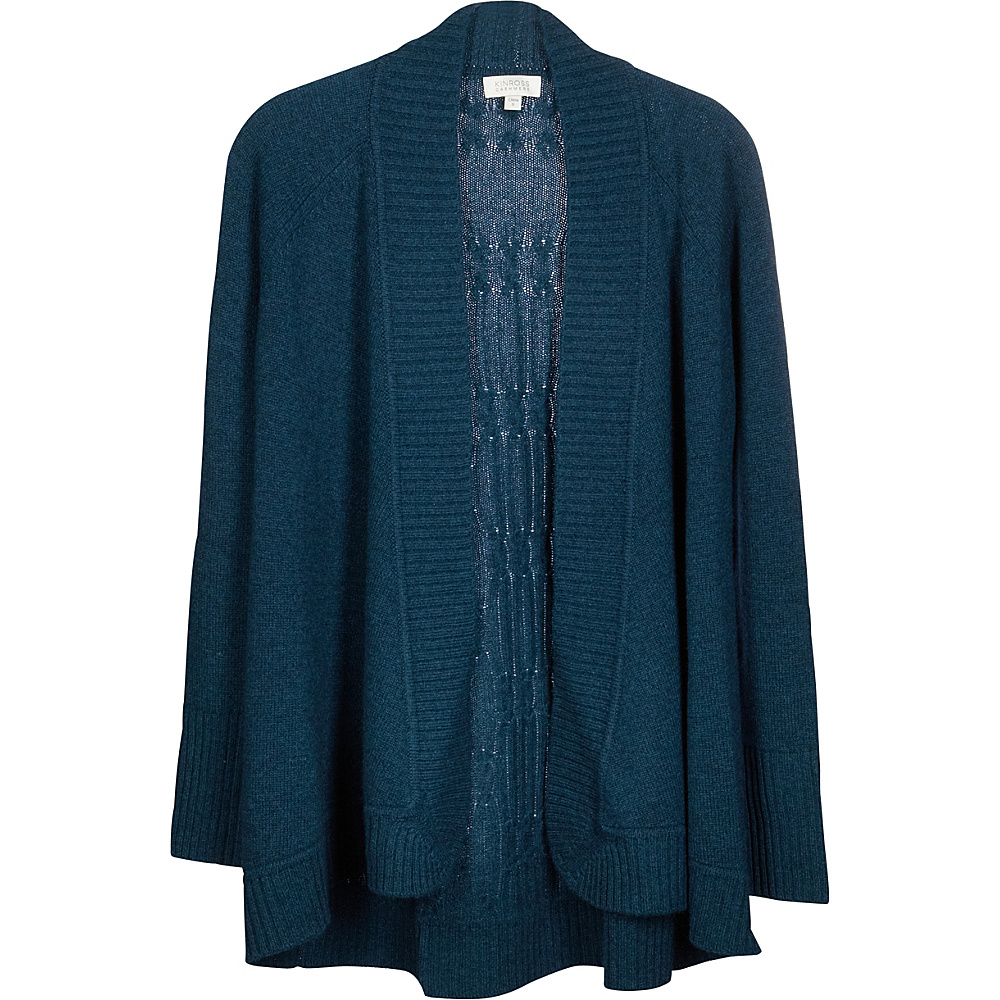Kinross Cashmere Plaited Cable Back Cardigan M - Blue Spruce - Kinross Cashmere Womens Apparel - Apparel & Footwear, Women's Apparel