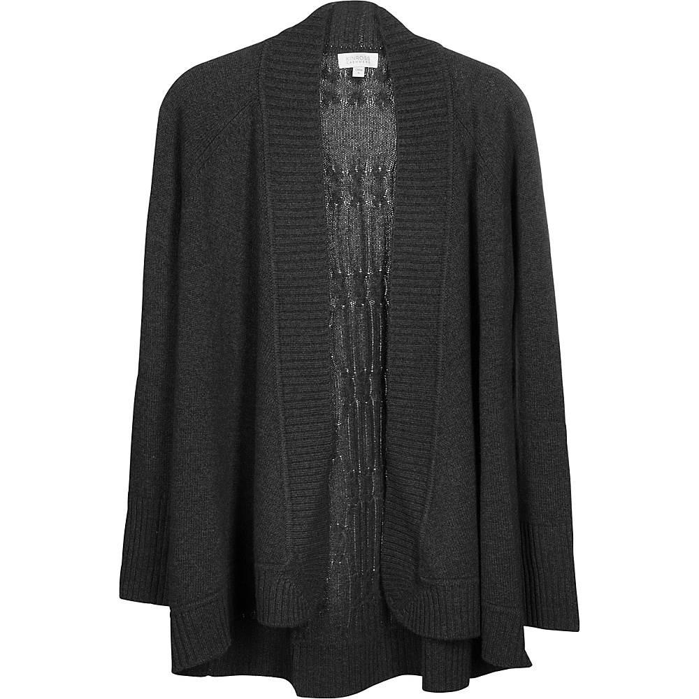 Kinross Cashmere Plaited Cable Back Cardigan XL - Charcoal - Kinross Cashmere Womens Apparel - Apparel & Footwear, Women's Apparel