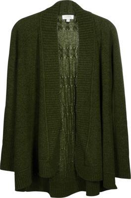 Kinross Cashmere Plaited Cable Back Cardigan XL - Figue - Kinross Cashmere Women's Apparel