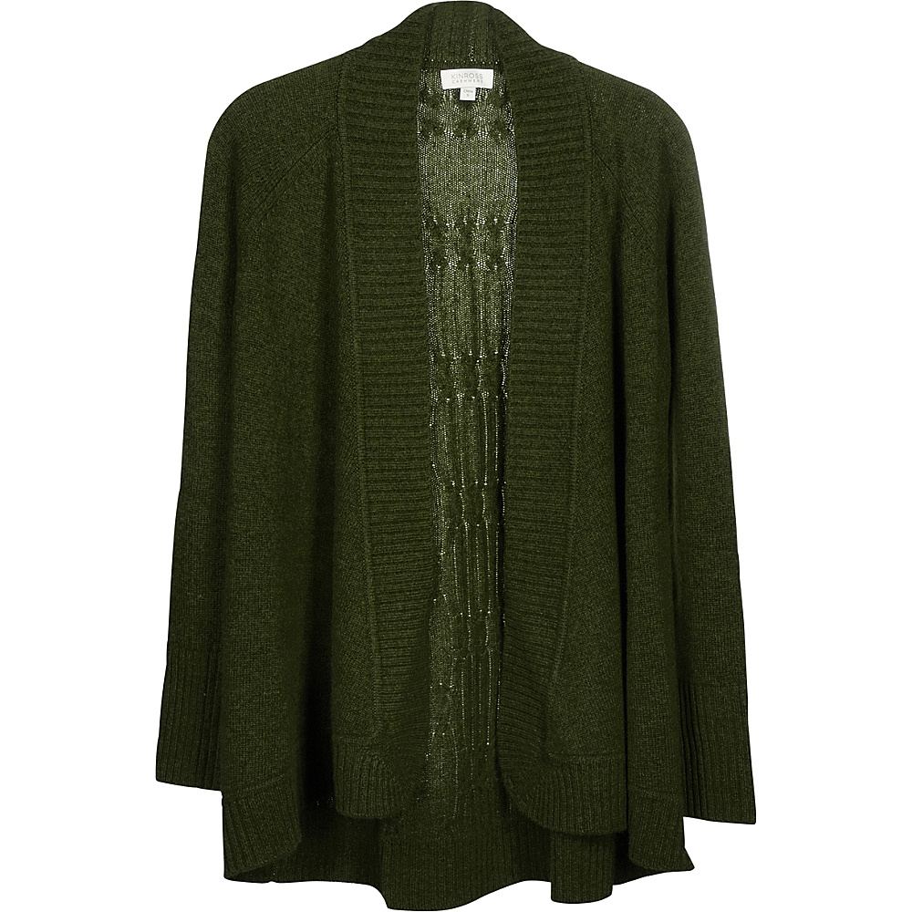 Kinross Cashmere Plaited Cable Back Cardigan S - Figue - Kinross Cashmere Womens Apparel - Apparel & Footwear, Women's Apparel