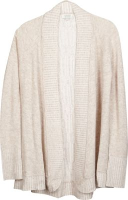 Kinross Cashmere Plaited Cable Back Cardigan L - Fawn/Ivory - Kinross Cashmere Women's Apparel