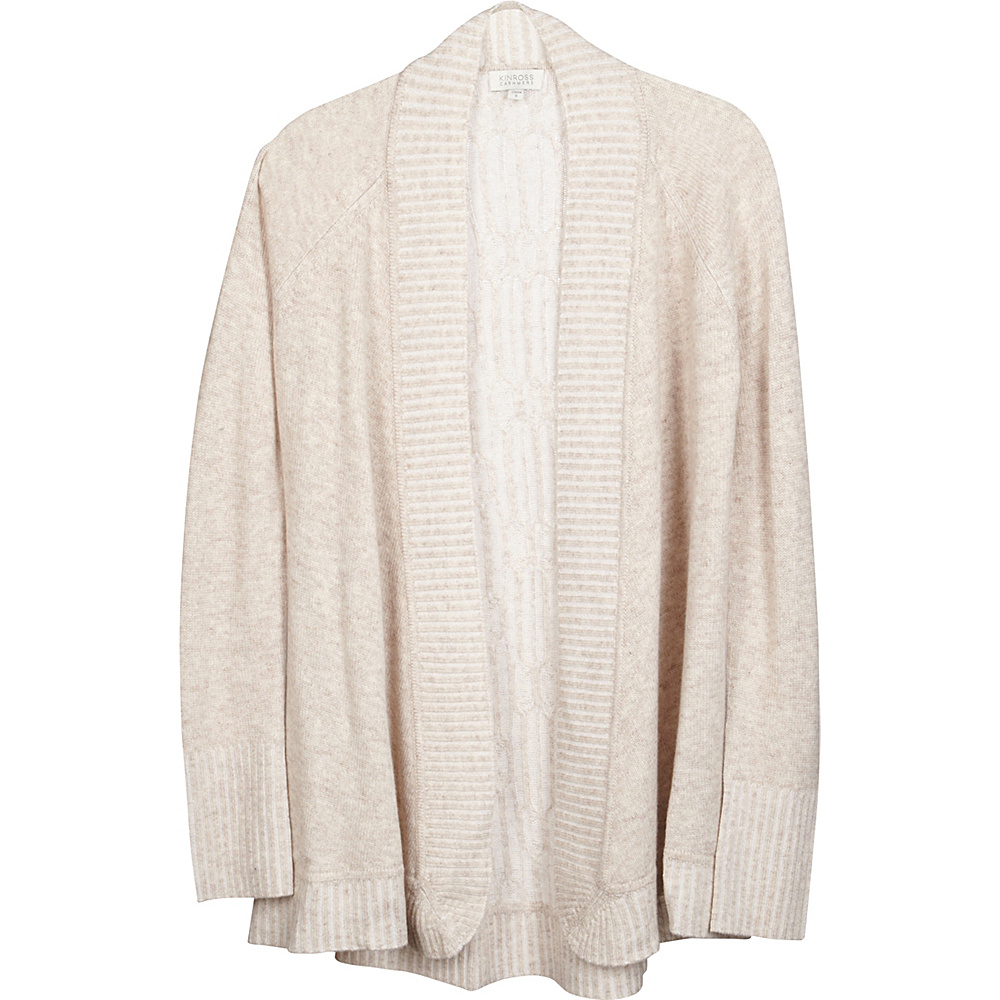 Kinross Cashmere Plaited Cable Back Cardigan M - Fawn/Ivory - Kinross Cashmere Womens Apparel - Apparel & Footwear, Women's Apparel