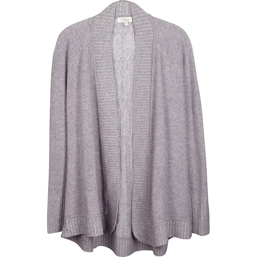 Kinross Cashmere Plaited Cable Back Cardigan XL - Thistle/Sterling - Kinross Cashmere Womens Apparel - Apparel & Footwear, Women's Apparel