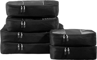 eBags Packing Cubes 6 pc Sampler Set - SPECIAL BUY Black - eBags Packing Aids
