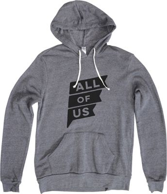 All of Us Mens Flag Hoodie S - Eco Grey - All of Us Men's Apparel