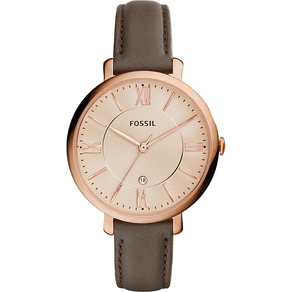 Fossil Jacqueline Three-Hand Date Leather Watch Grey - Fossil Watches - Fashion Accessories, Watches