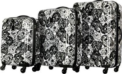 Isaac Mizrahi Boldon 3 Piece Hardside Spinner Luggage Set Black White - Isaac Mizrahi Luggage Sets
