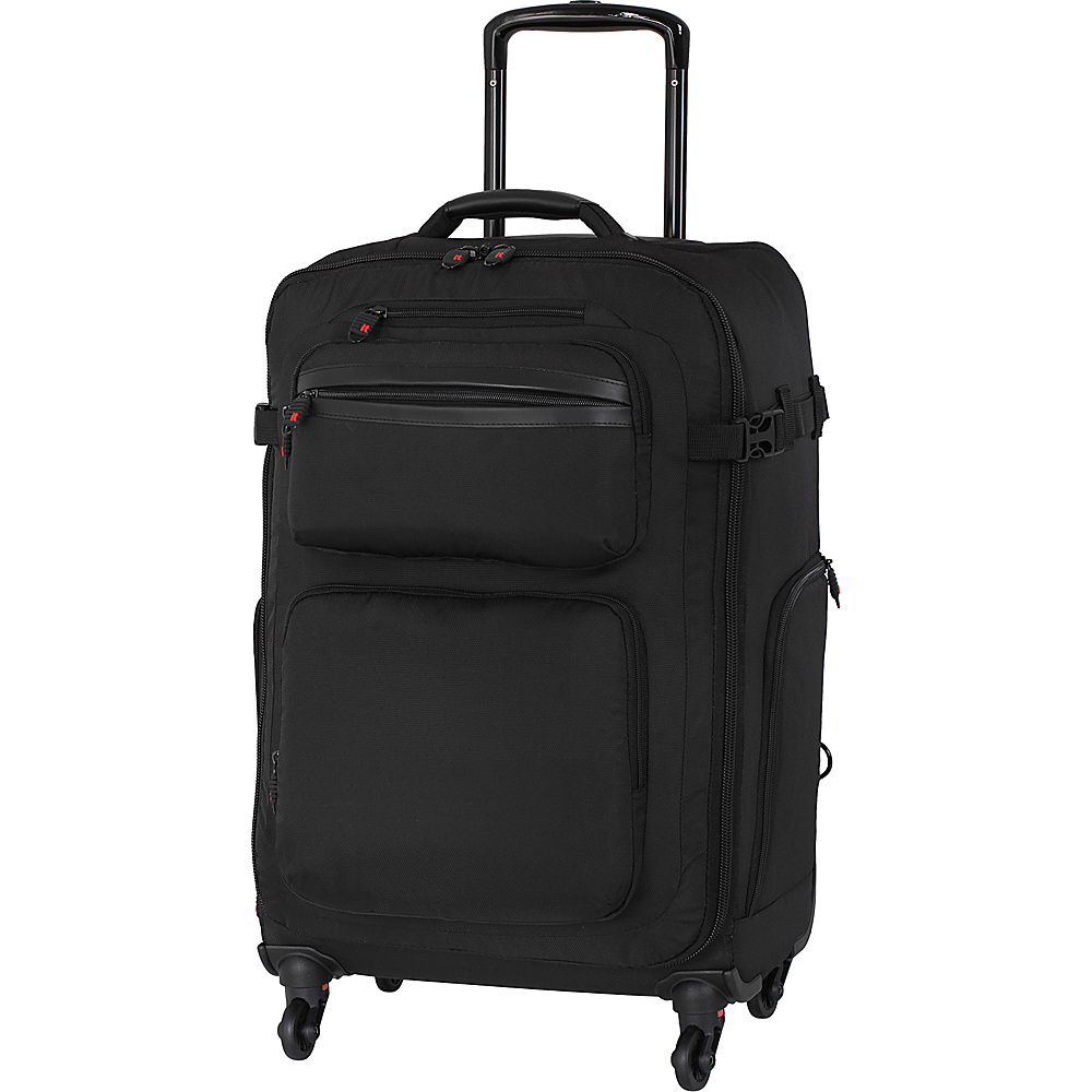 it luggage Carry Master 24 Removable Wheel Spinner Checked Luggage Black - it luggage Softside Carry-On