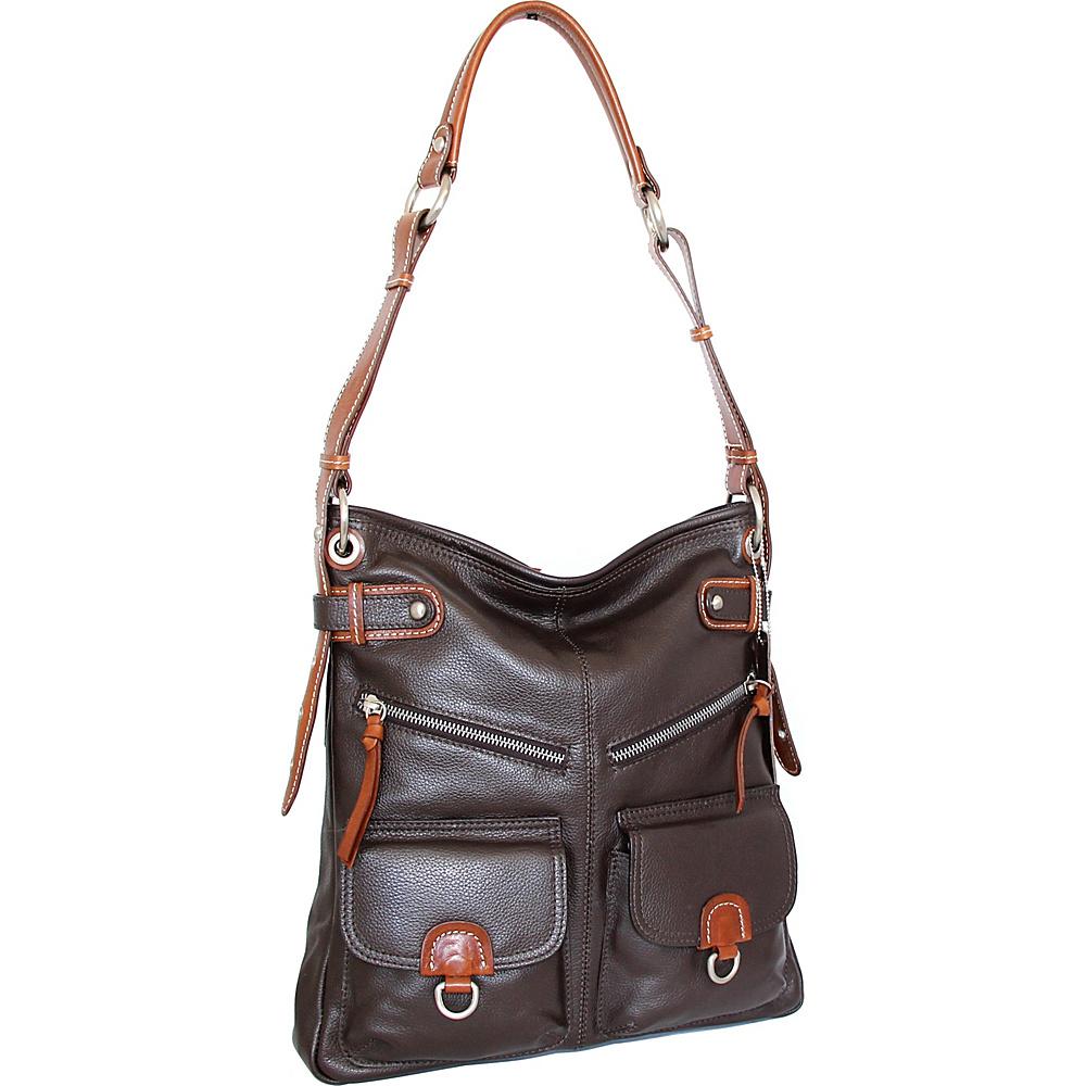 Nino Bossi Echo Shoulder Bag Chocolate - Nino Bossi Leather Handbags - Handbags, Leather Handbags