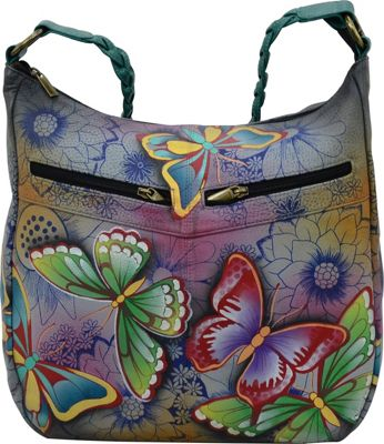 ANNA by Anuschka Hand Painted Leather Shoulder Hobo Butterfly Paradise - ANNA by Anuschka Leather Handbags