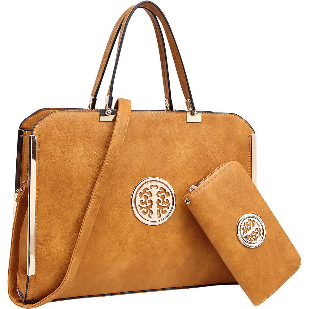 Dasein Briefcase Satchel with Matching Wallet Tan - Dasein Manmade Handbags - Handbags, Manmade Handbags