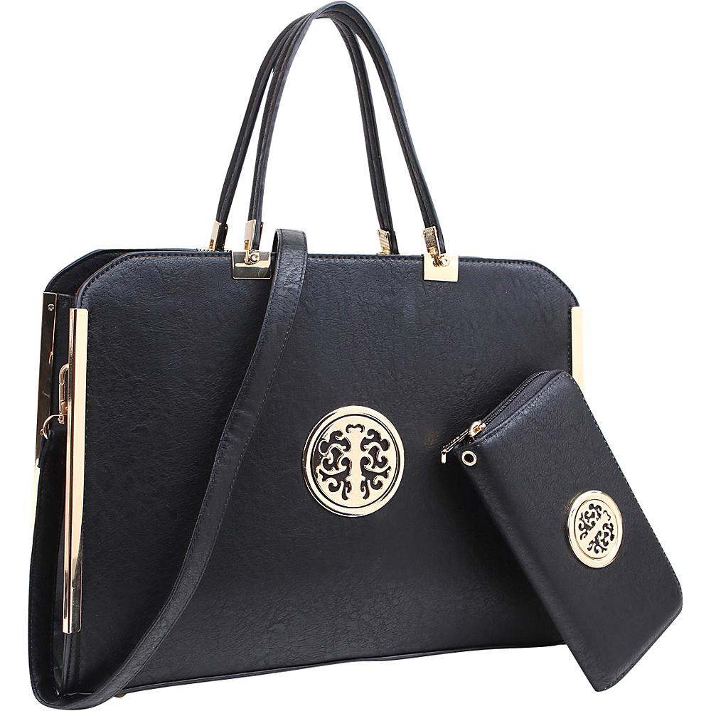 Dasein Briefcase Satchel with Matching Wallet Black - Dasein Manmade Handbags - Handbags, Manmade Handbags