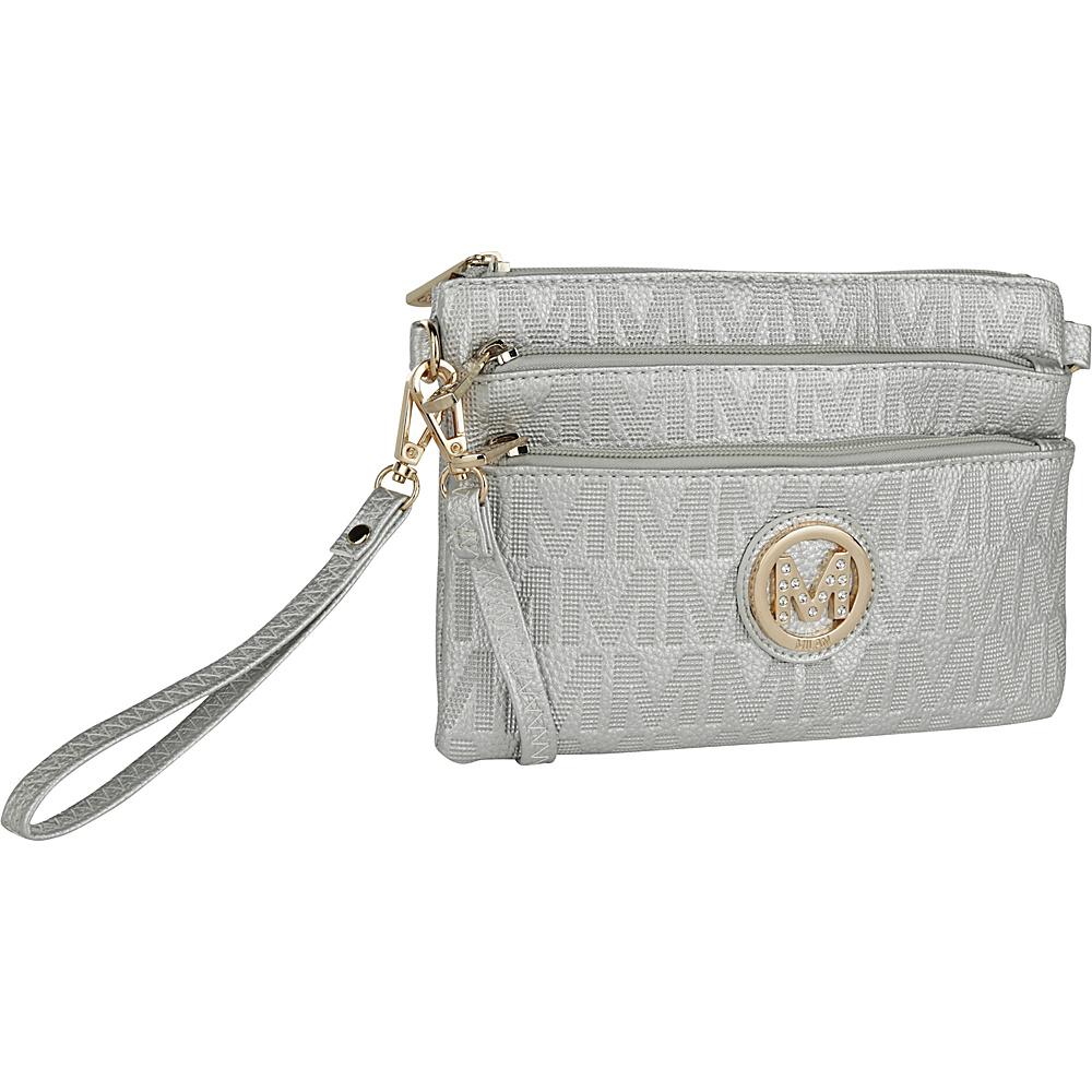 MKF Collection by Mia K. Farrow Sarai Crossbody Wristlet Silver - MKF Collection by Mia K. Farrow Manmade Handbags - Handbags, Manmade Handbags