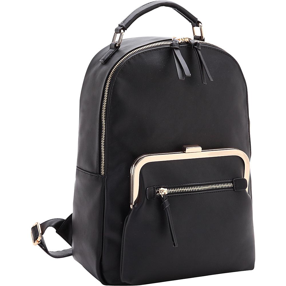 Dasein Twist Lock Pouch Backpack Black - Dasein Fabric Handbags - Handbags, Fabric Handbags
