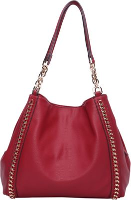 STYLE STRATEGY Double Chain Satch Shoulder Bag Red - STYLE STRATEGY Manmade Handbags