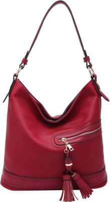 STYLE STRATEGY Chic Double Zipper Pull Shoulder Bag Red - STYLE STRATEGY Manmade Handbags