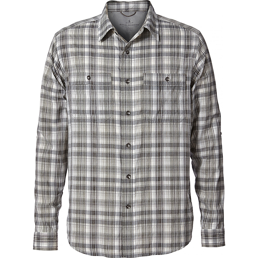 Royal Robbins Mens Vista Dry Plaid Long Sleeve M - Light Pewter - Royal Robbins Mens Apparel - Apparel & Footwear, Men's Apparel