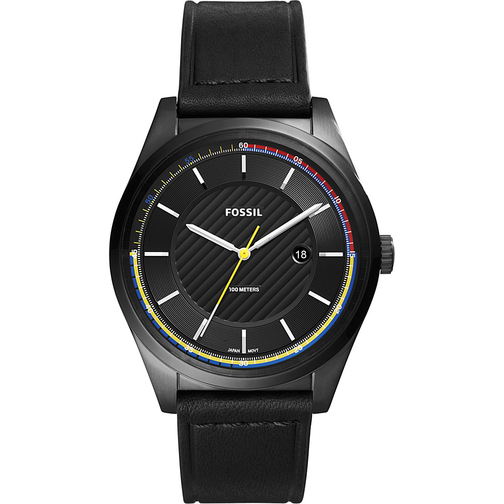 Fossil Mathis Three-Hand Date Black Leather Watch Black - Fossil Watches - Fashion Accessories, Watches