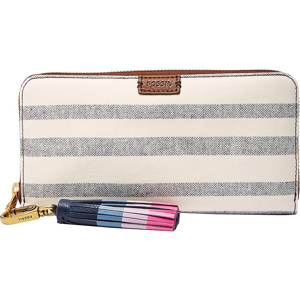 Fossil Emma RFID Large Zip Clutch Blue Stripe - Fossil Womens Wallets - Women's SLG, Women's Wallets