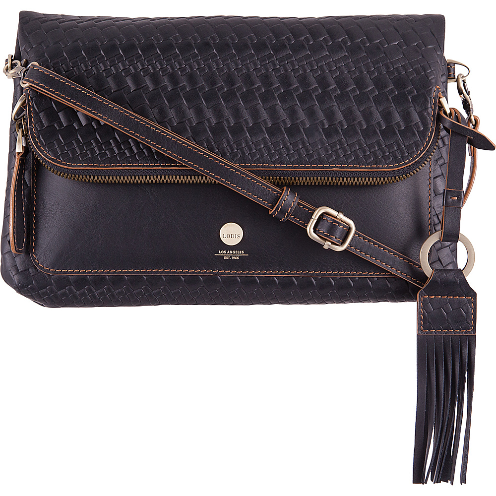 Lodis Rodeo Woven RFID Aphra Zip Flap Crossbody Black - Lodis Leather Handbags - Handbags, Leather Handbags