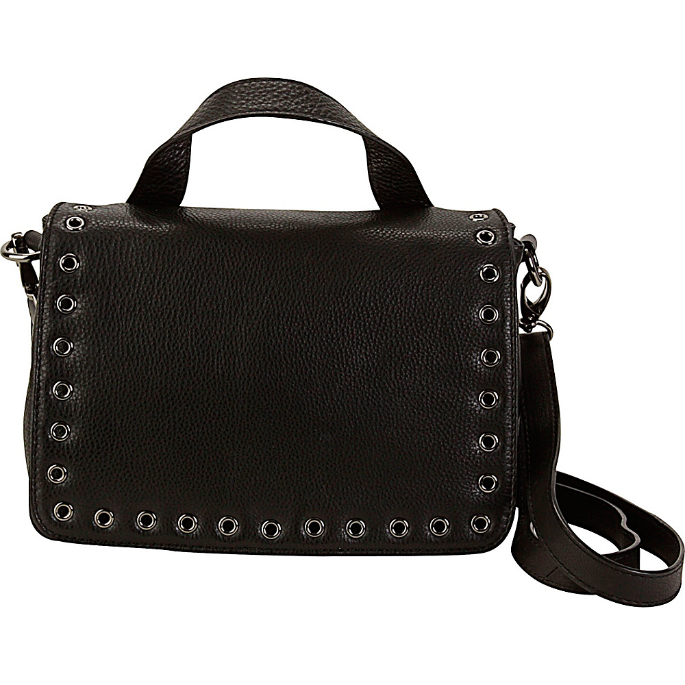 Hadaki Grommet Messenger Black - Hadaki Leather Handbags - Handbags, Leather Handbags