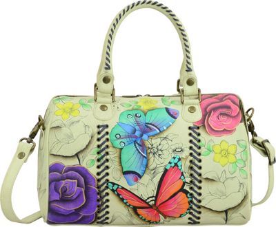 Image of ANNA by Anuschka Hand Painted All Round Zip Satchel Floral Paradise - ANNA by Anuschka Leather Handbags