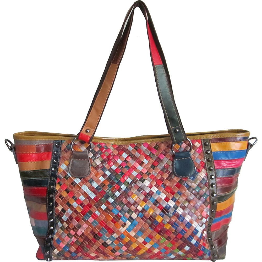 AmeriLeather Cecily Woven Tote Rainbow - AmeriLeather Leather Handbags - Handbags, Leather Handbags