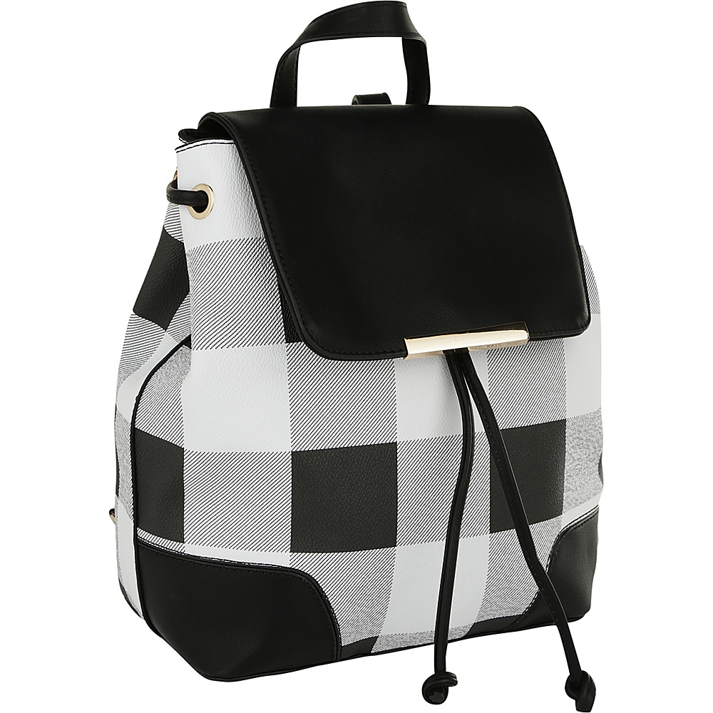 MKF Collection by Mia K. Farrow Nashla Plaid Backpack Black - MKF Collection by Mia K. Farrow Manmade Handbags - Handbags, Manmade Handbags