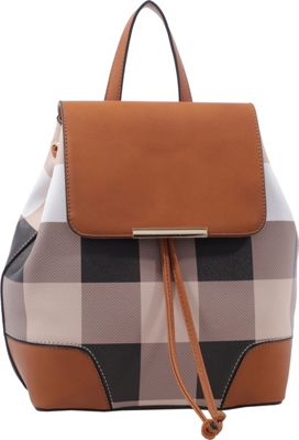 MKF Collection by Mia K. Farrow Nashla Plaid Backpack Brown - MKF Collection by Mia K. Farrow Manmade Handbags