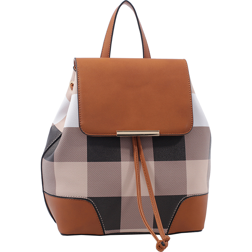 MKF Collection by Mia K. Farrow Nashla Plaid Backpack Brown - MKF Collection by Mia K. Farrow Manmade Handbags - Handbags, Manmade Handbags