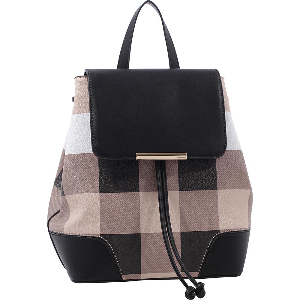 MKF Collection by Mia K. Farrow Nashla Plaid Backpack Tan - MKF Collection by Mia K. Farrow Manmade Handbags - Handbags, Manmade Handbags
