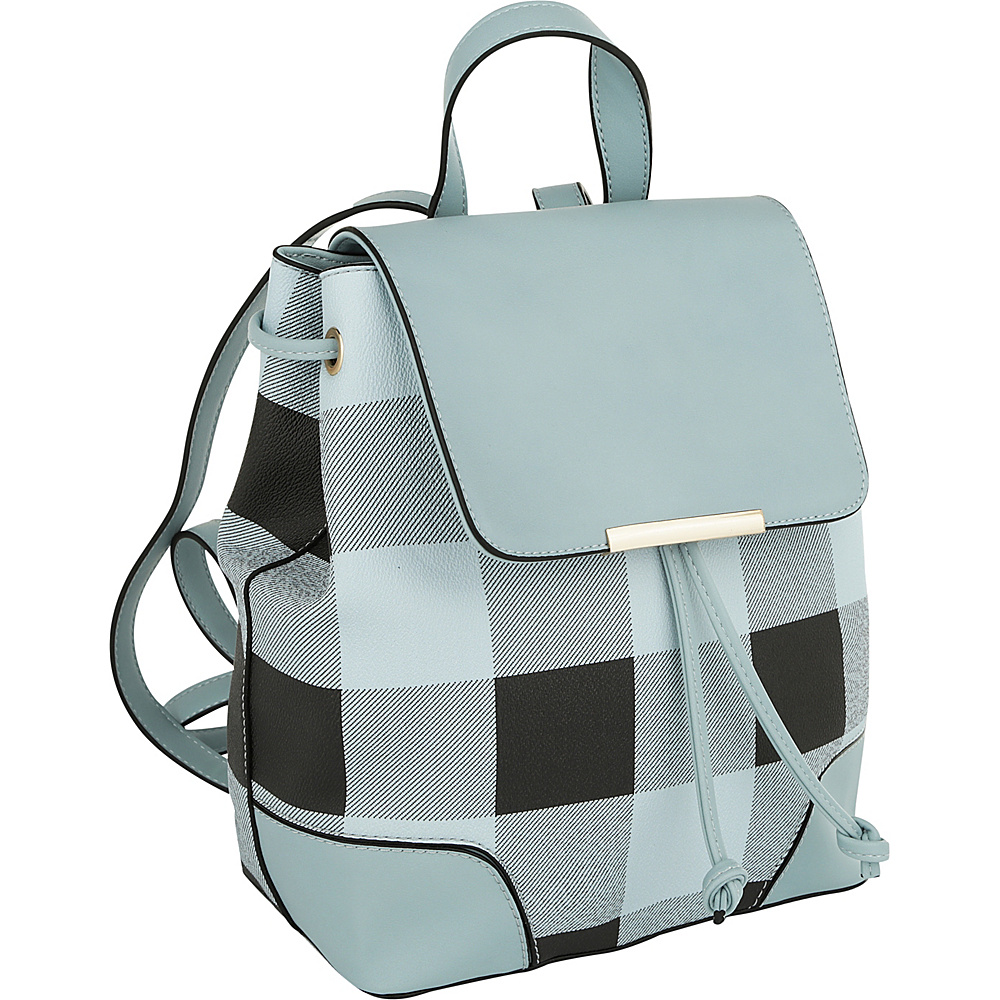 MKF Collection by Mia K. Farrow Nashla Plaid Backpack Light Blue - MKF Collection by Mia K. Farrow Manmade Handbags - Handbags, Manmade Handbags