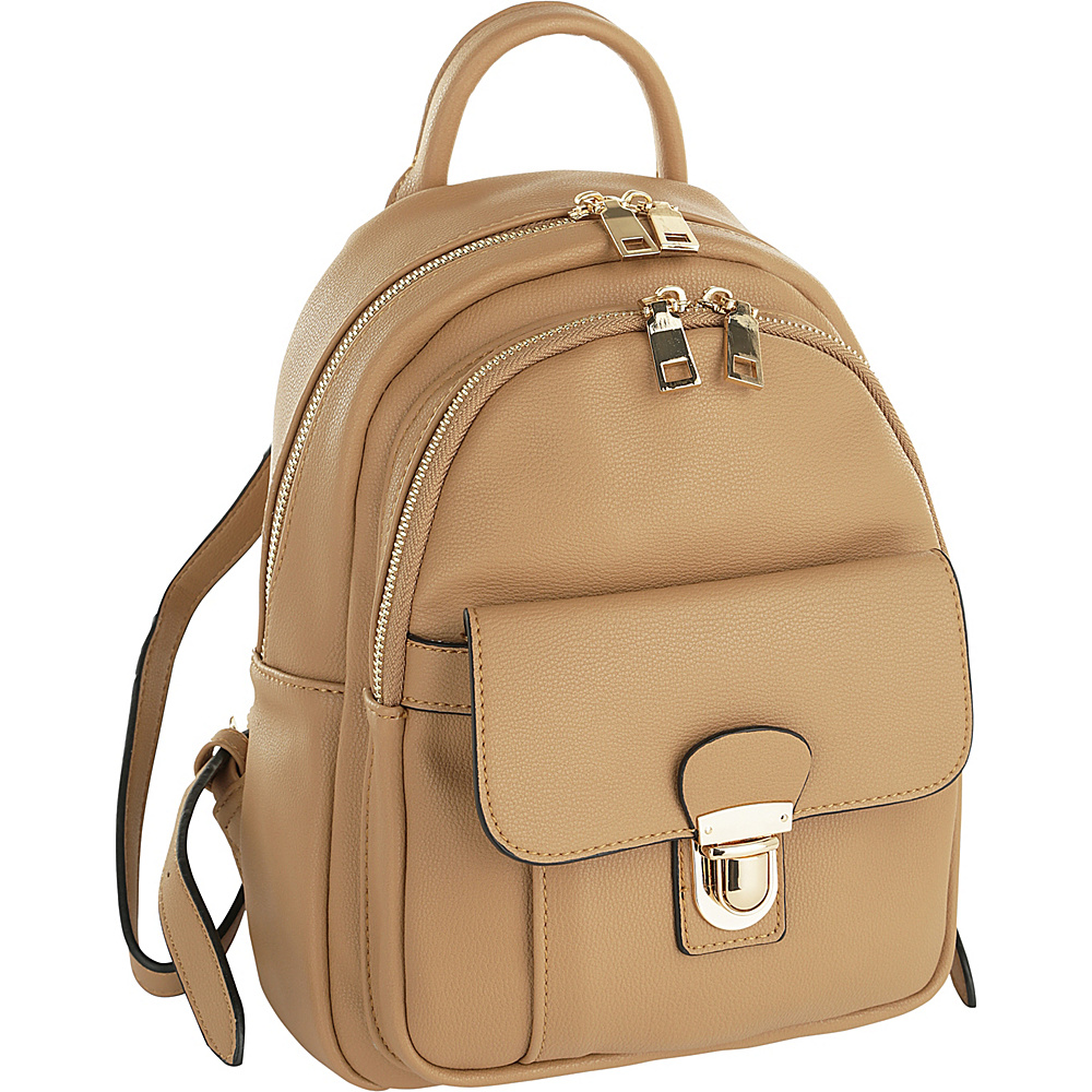 MKF Collection by Mia K. Farrow Lina Trendy Backpack Light Tan - MKF Collection by Mia K. Farrow Manmade Handbags - Handbags, Manmade Handbags