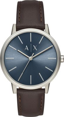 A/X Armani Exchange Men's Three-Hand Brown Leather Watch ...