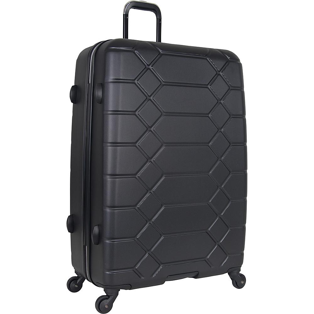 "Image of Aimee Kestenberg Diamond Anaconda 28"" Lightweight Hardside Spinner Checked Luggage Black with Silver Hardware - Aimee Kestenberg Hardside Checked"