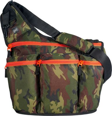 Diaper Dude Camouflage Diaper Bag with Orange Zippers