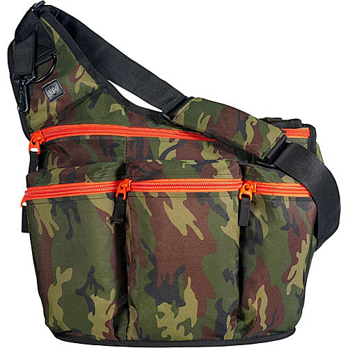 diaper dude camouflage diaper bag with orange zippers. Black Bedroom Furniture Sets. Home Design Ideas