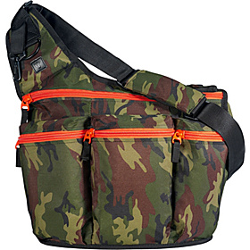 Camouflage Diaper Bag with Orange Zippers Camouflage With Orange