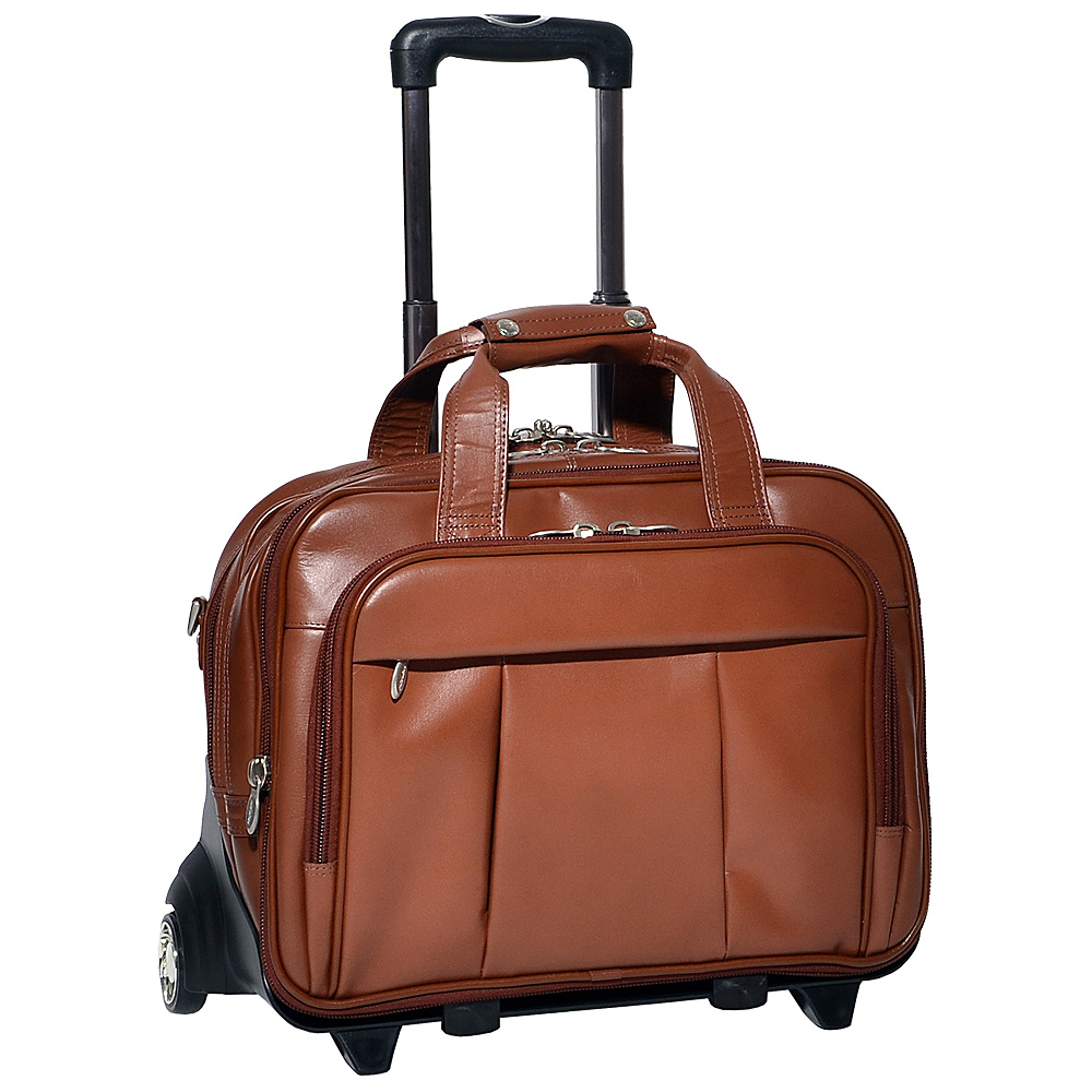 McKlein USA Damen Leather Wheeled 17 Laptop Case Brown - McKlein USA Wheeled Business Cases - Work Bags & Briefcases, Wheeled Business Cases