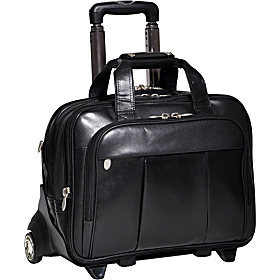 Damen Leather Wheeled 17'' Laptop Case Black